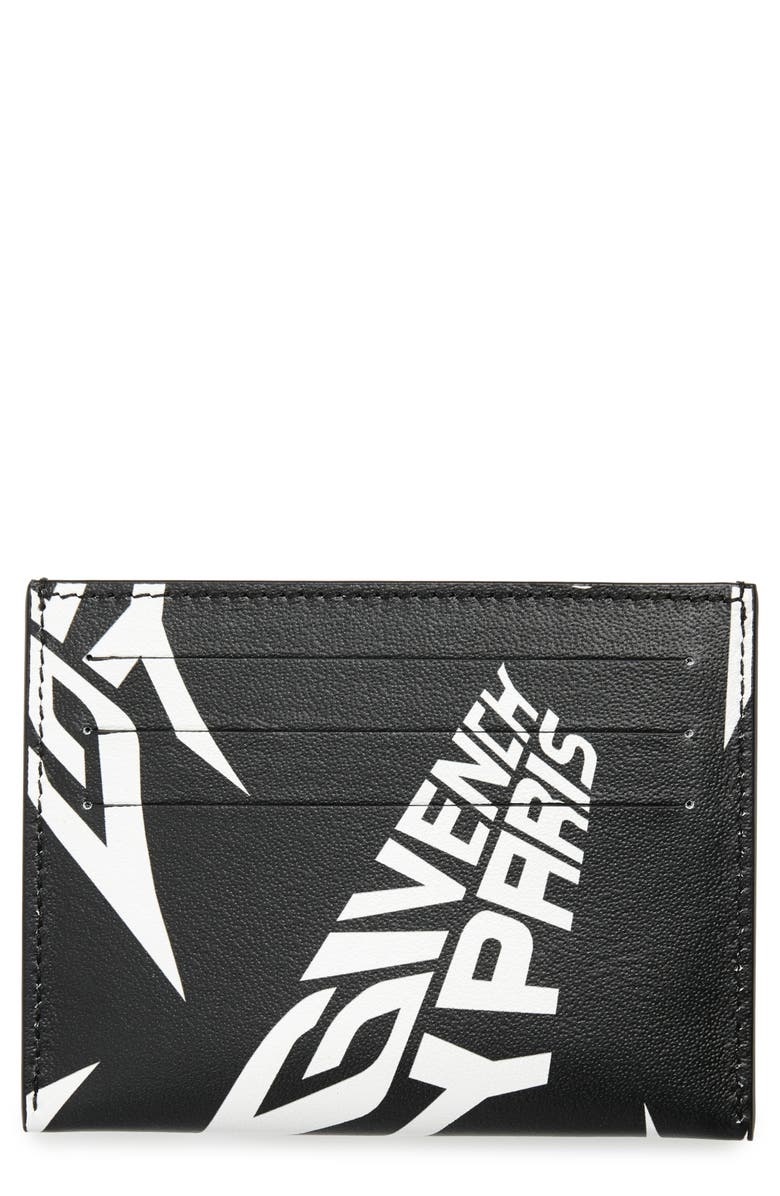 GIVENCHY Logo Leather Cardholder, Main, color, BLACK/ WHITE