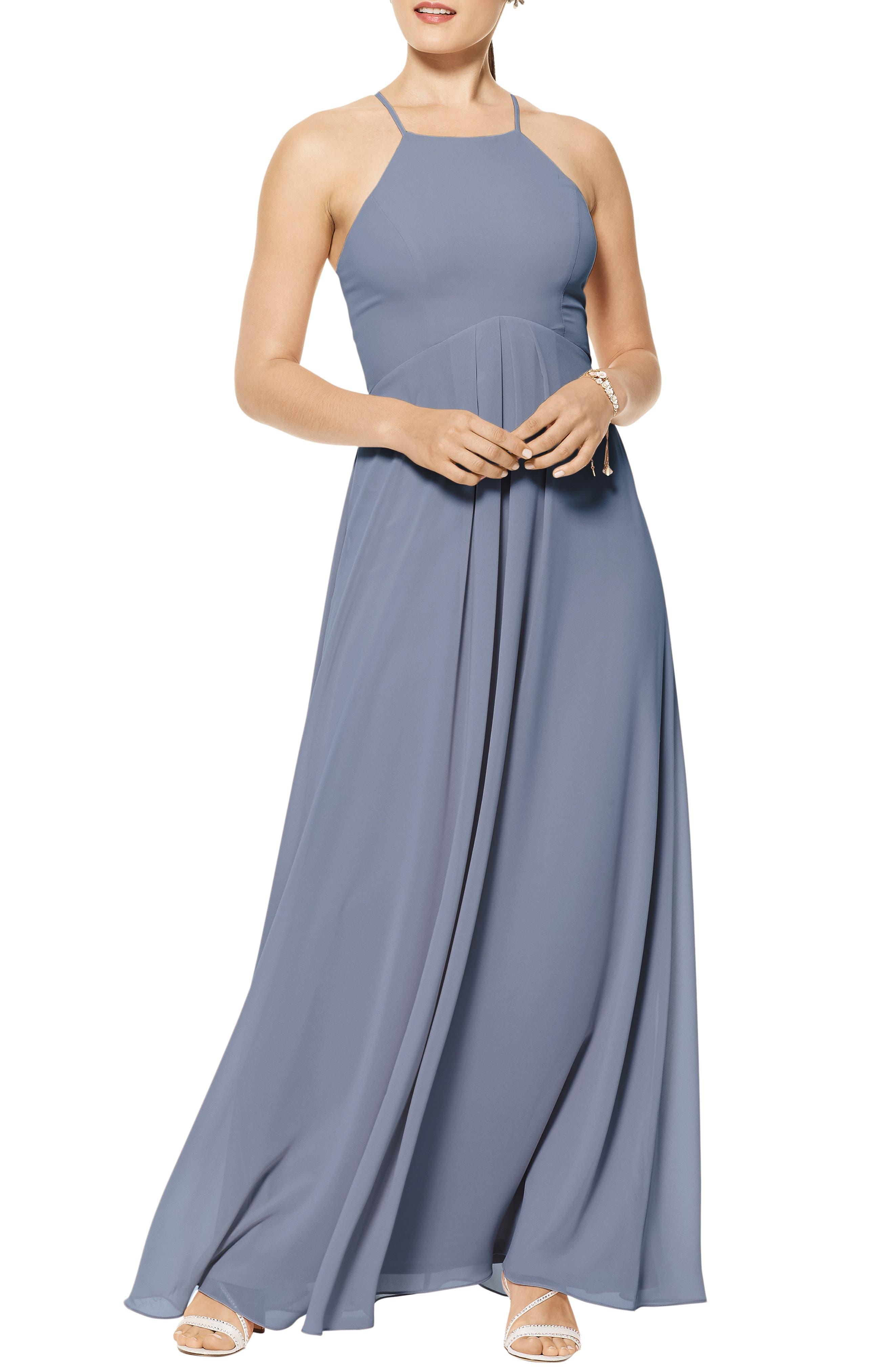 Halter Neck Chiffon A-Line Gown
