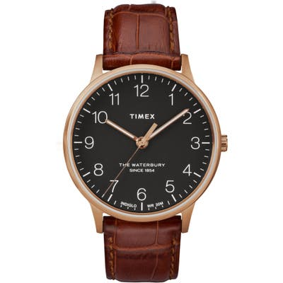 Timex Waterbury Leather Strap Watch, 40Mm