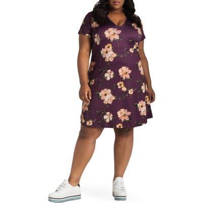 Plus Size Poetic Justice Sapphire Floral Print Dress, Purple