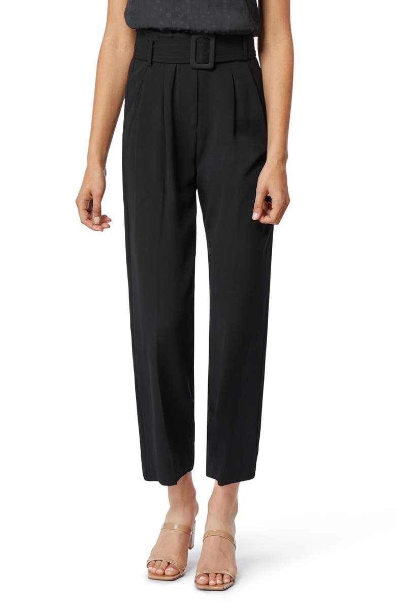 HABITUAL Payton Belted High Waist Ankle Trousers, Main, color, JET BLACK
