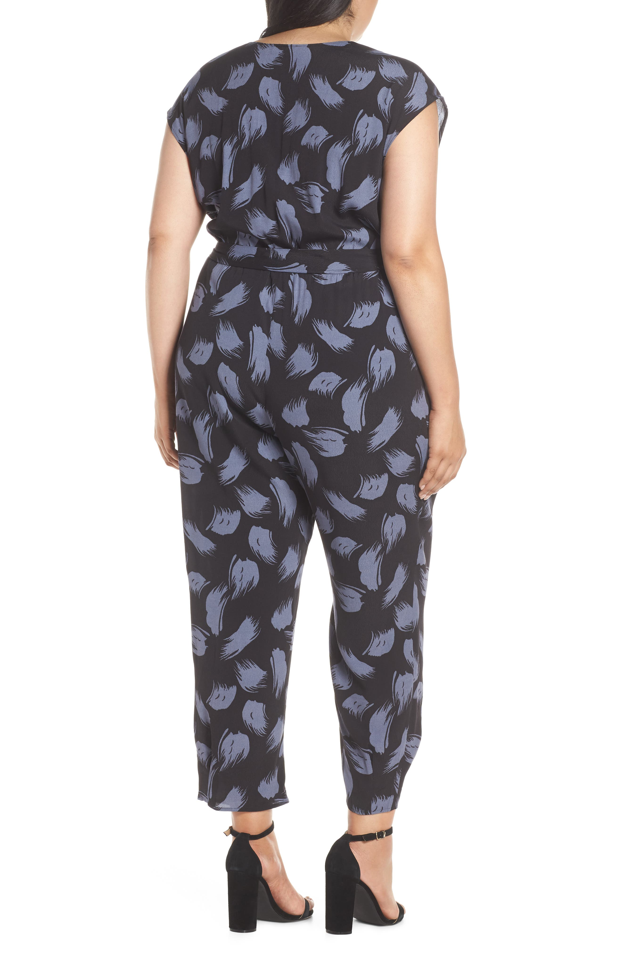 ,                             Tie Waist Print Jumpsuit,                             Alternate thumbnail 5, color,                             001