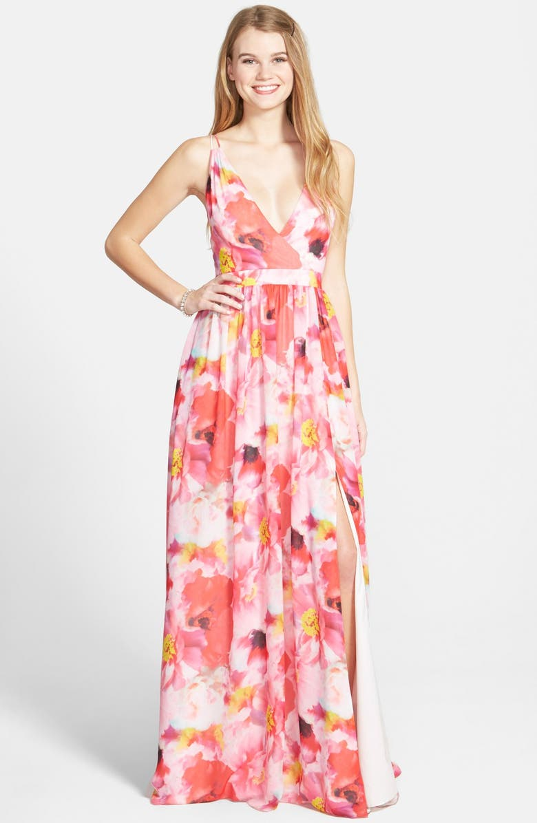 AIDAN BY AIDAN MATTOX Flower Print Chiffon Gown, Main, color, 688