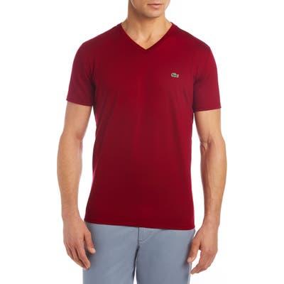 Lacoste Regular Fit V-Neck Cotton T-Shirt, Red