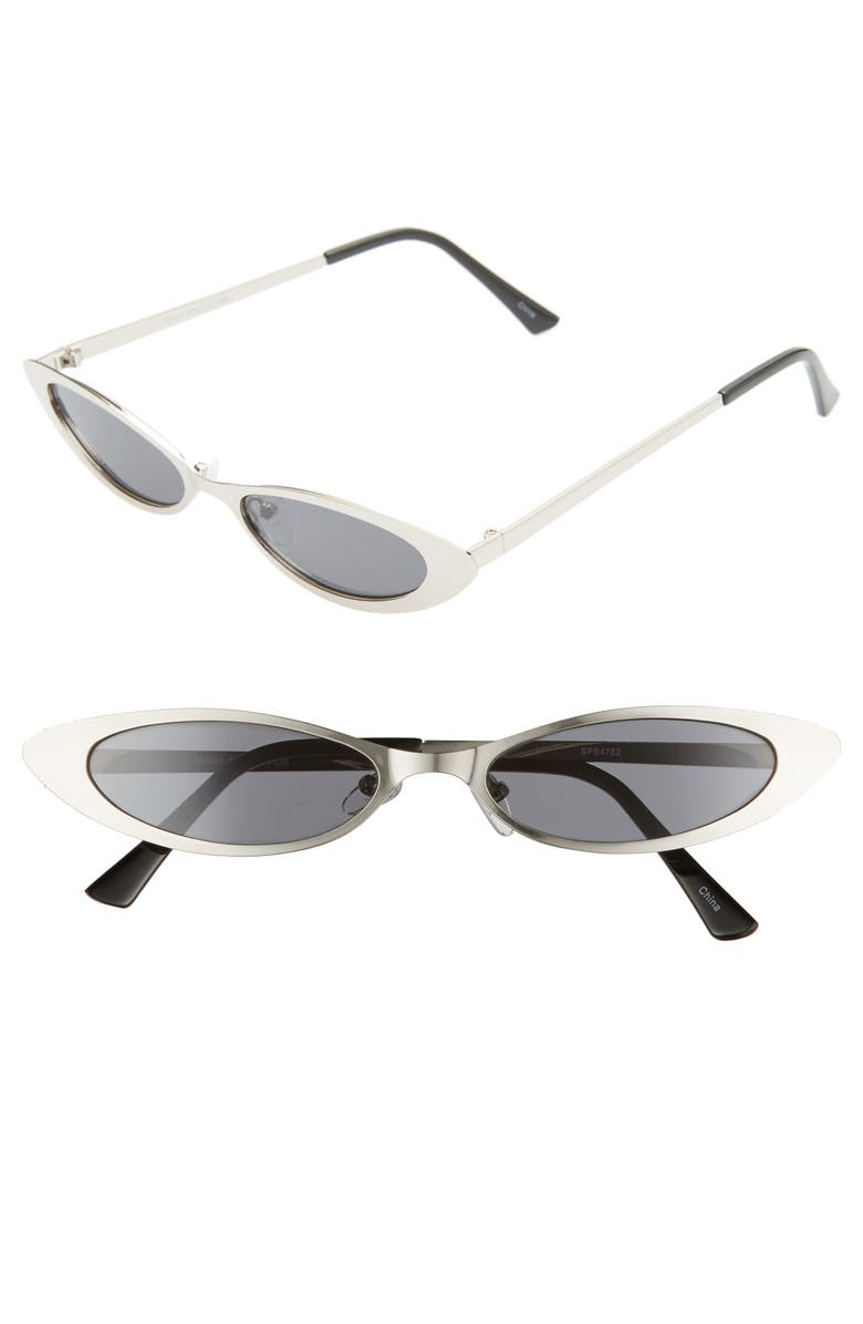 RAD + REFINED Hollywood Oval Sunglasses, Main, color, SILVER