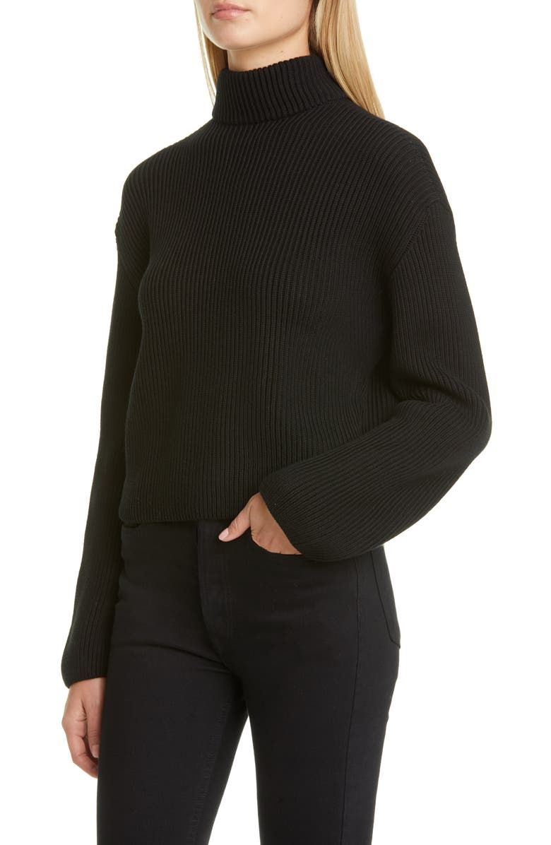 LOEWE Scarf Neck Cotton Rib Sweater, Main, color, BLACK