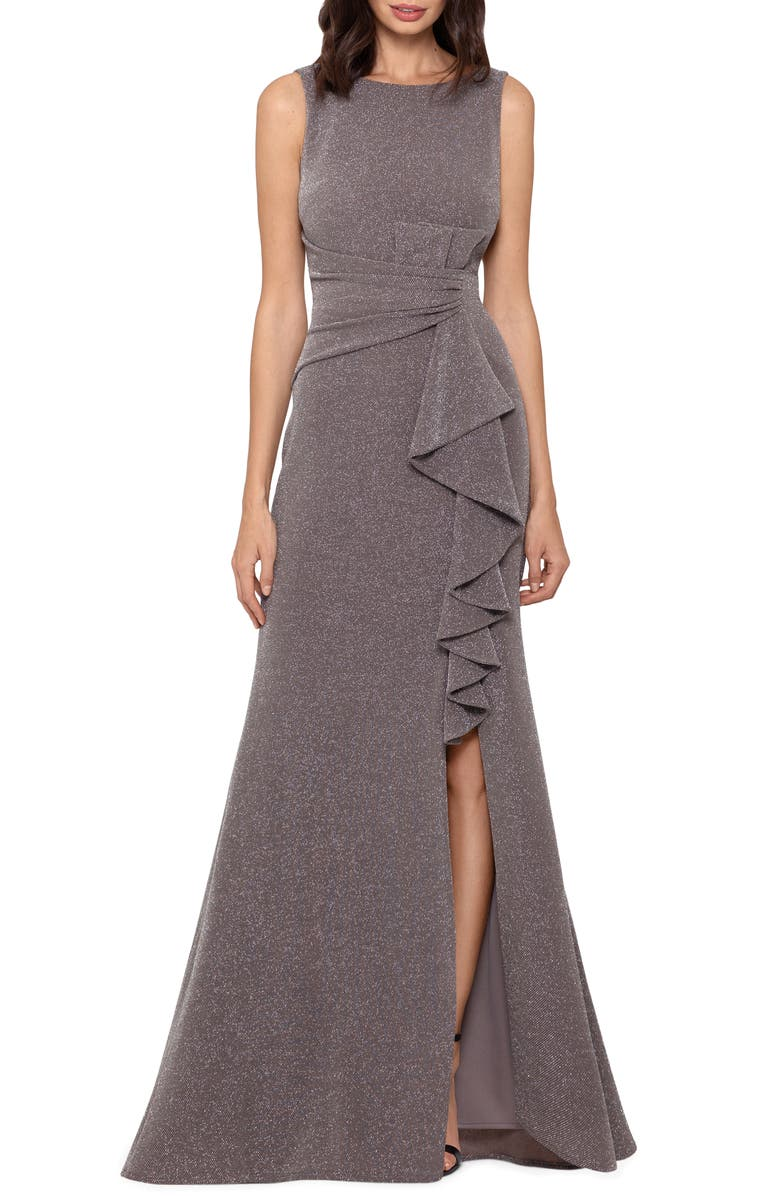 BETSY & ADAM Ruffle Front Metallic Knit Gown, Main, color, TAUPE/ SILVER