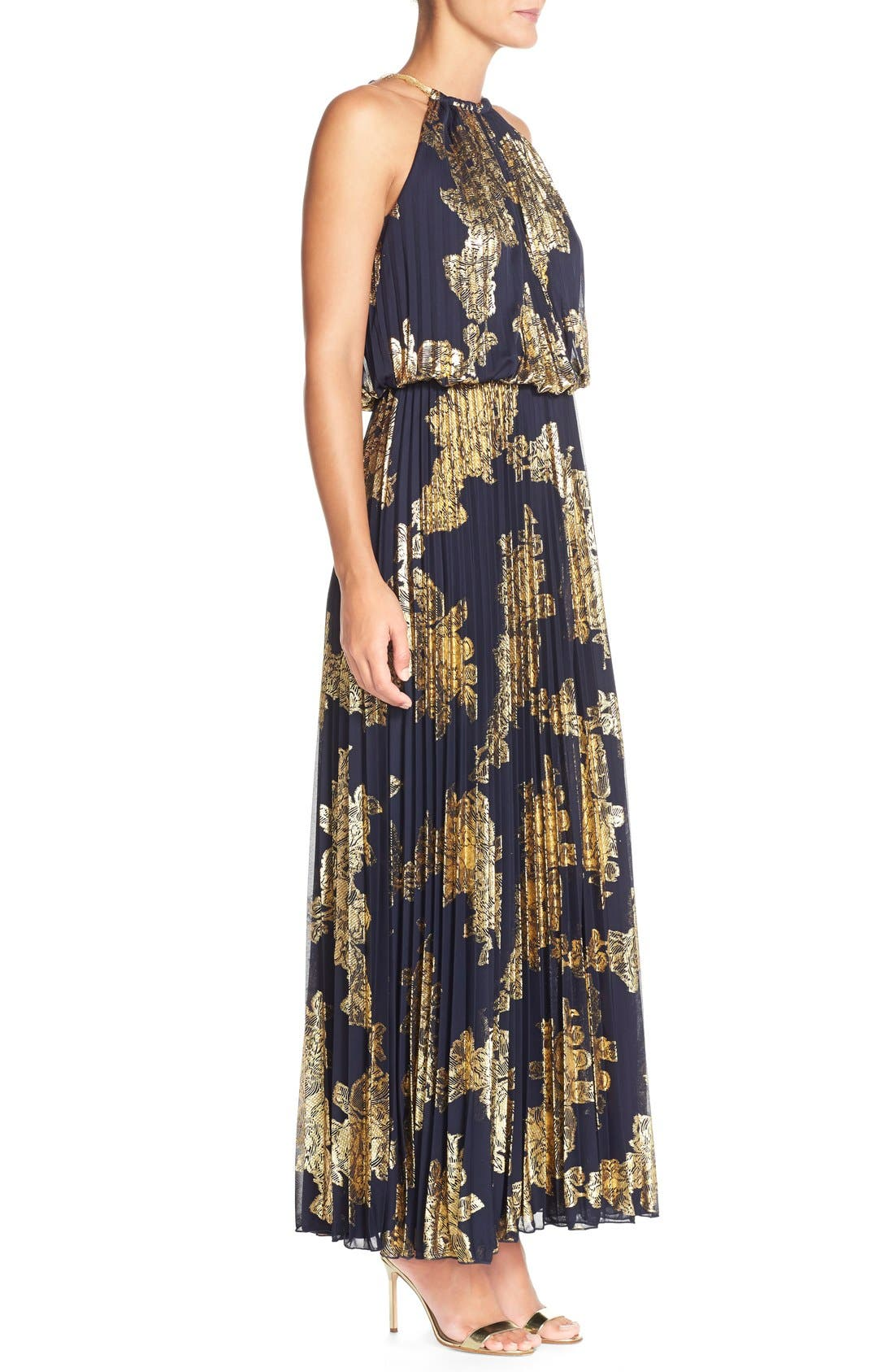 ,                             Foiled Pleated Jersey Blouson Dress,                             Alternate thumbnail 15, color,                             409