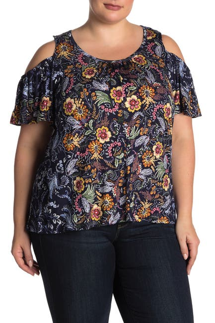 Image of Democracy Cold Shoulder Printed Blouse