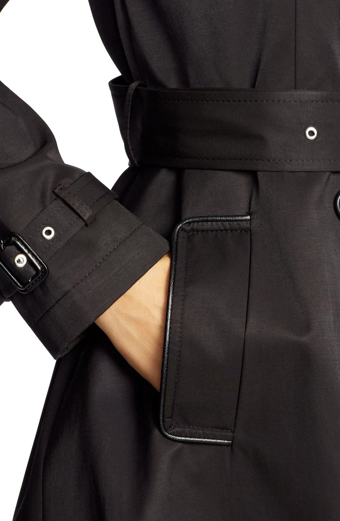 ,                             Faux Leather Trim Trench Coat,                             Alternate thumbnail 15, color,                             001