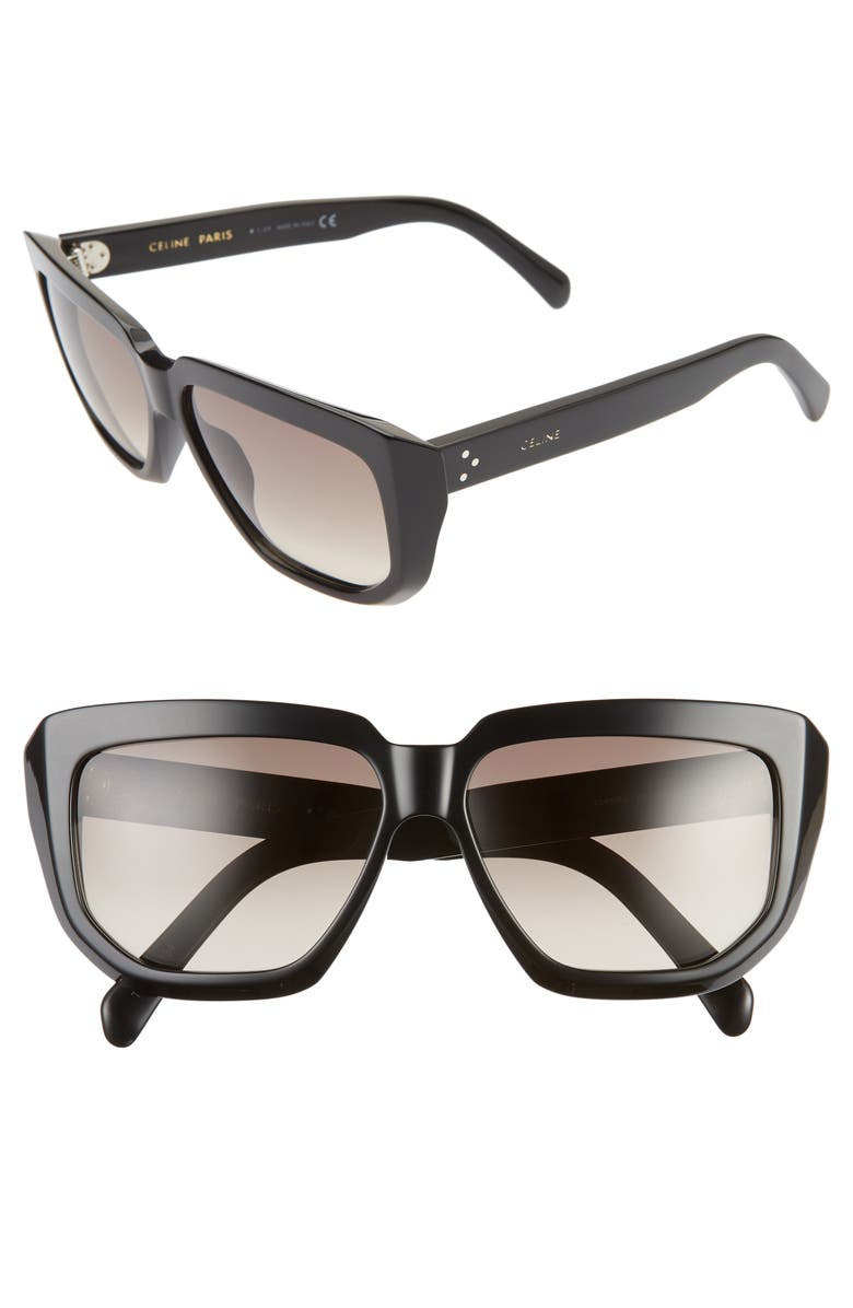 CELINE 58mm Square Sunglasses, Main, color, 001