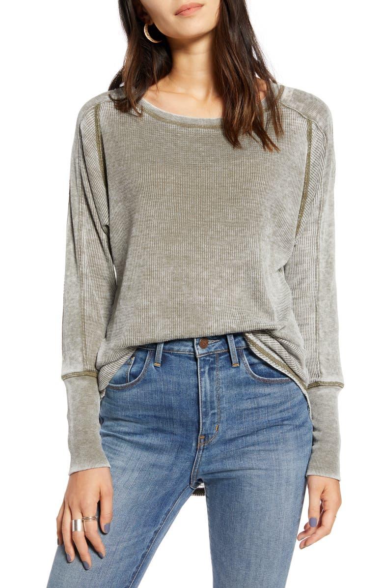 TREASURE & BOND Thermal Knit Shirttail Hem Long Sleeve Tee, Main, color, OLIVE SARMA