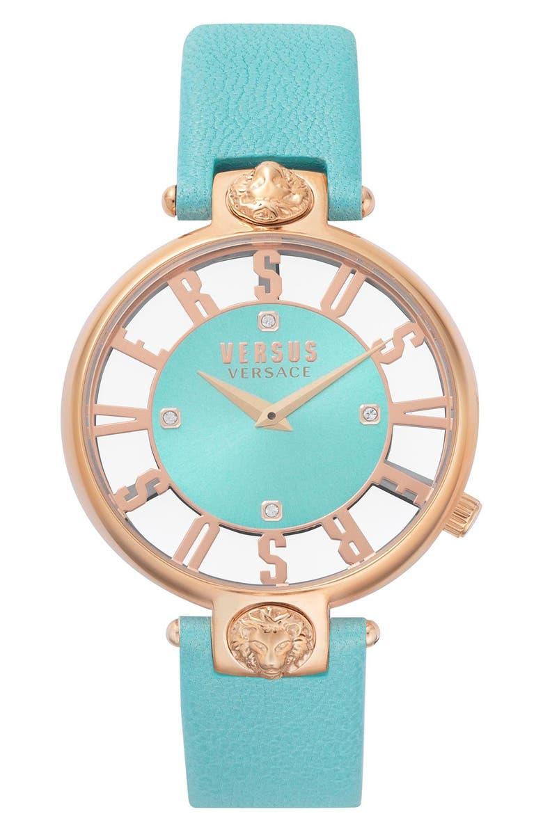 VERSUS VERSACE VERSUS by Versace Kristenhof Leather Strap Watch, 34mm, Main, color, GREEN/ ROSE GOLD