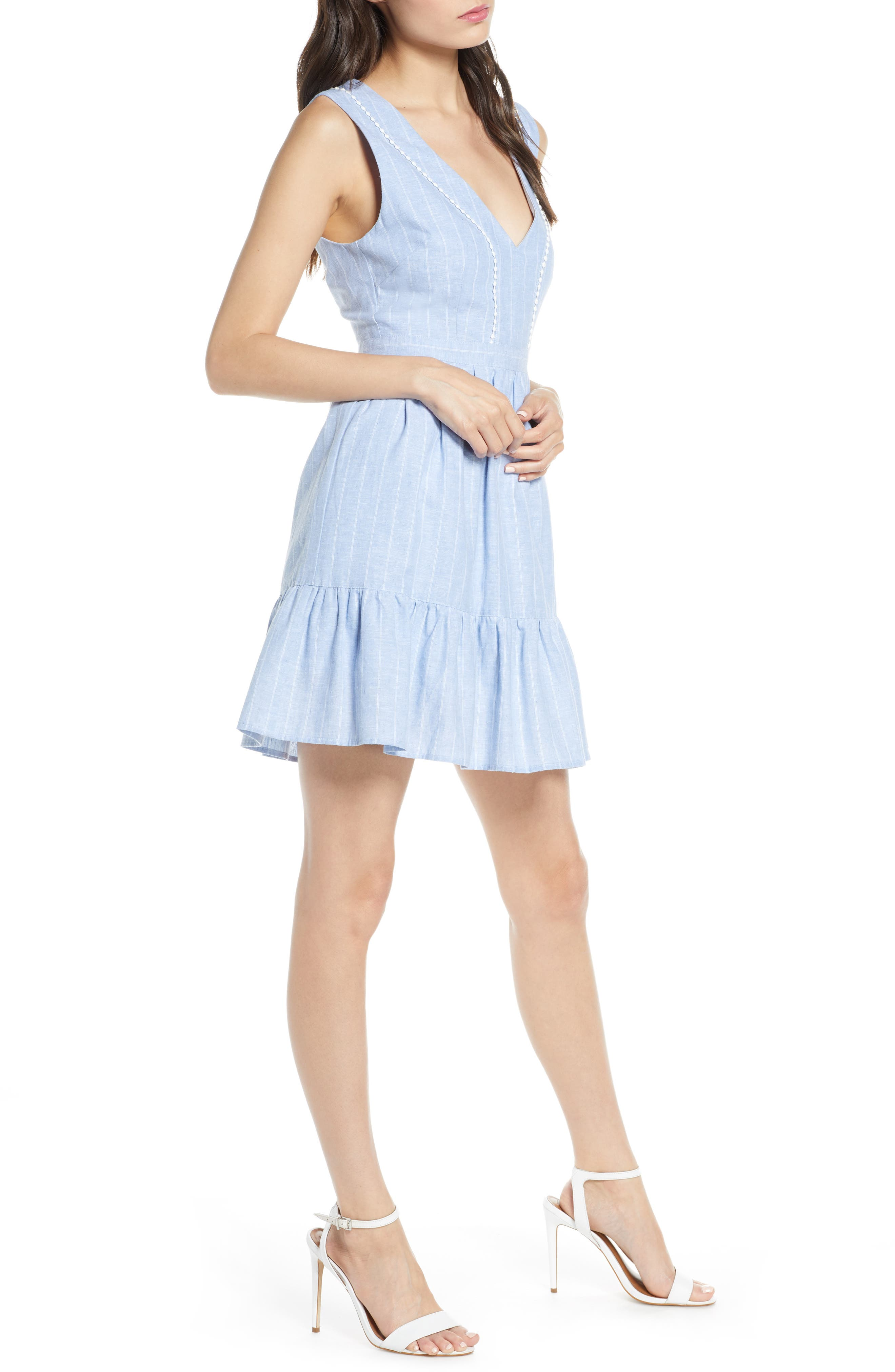 ,                             It's a Date Linen & Cotton Sundress,                             Alternate thumbnail 4, color,                             CHAMBRAY