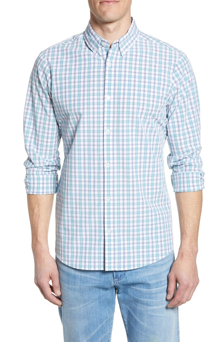 MIZZEN+MAIN Trim Fit Plaid Performance Shirt, Main, color, GREEN