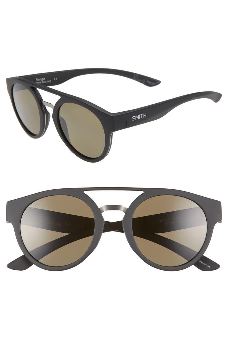 SMITH Range 50mm ChromaPop<sup>™</sup> Polarized Sunglasses, Main, color, MATTE BLACK/ GREY GREEN