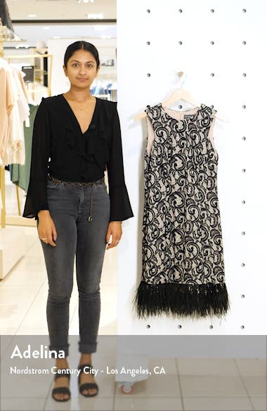 Allover Lace Feather Hem Sleeveless Cocktail Dress, sales video thumbnail