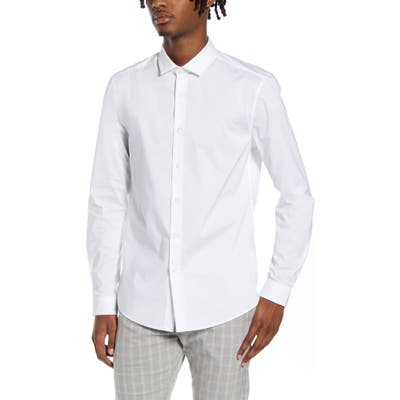 Topman Stretch Form Flow White Button-Up Shirt, White