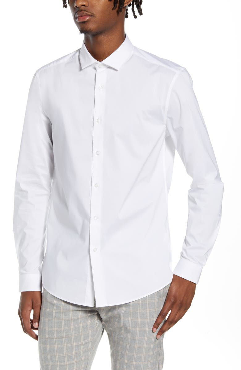 TOPMAN Stretch Form Flow White Button-Up Shirt, Main, color, WHITE