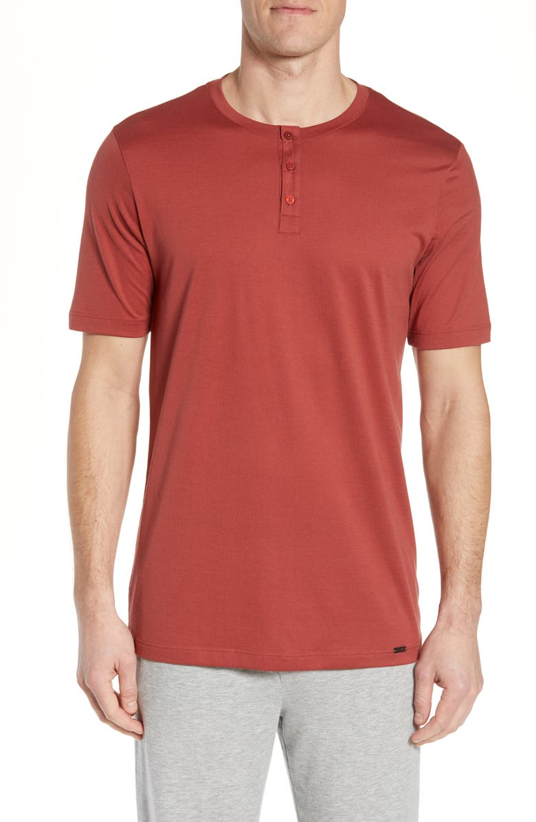HANRO Night & Day Cotton Henley, Main, color, BRICK