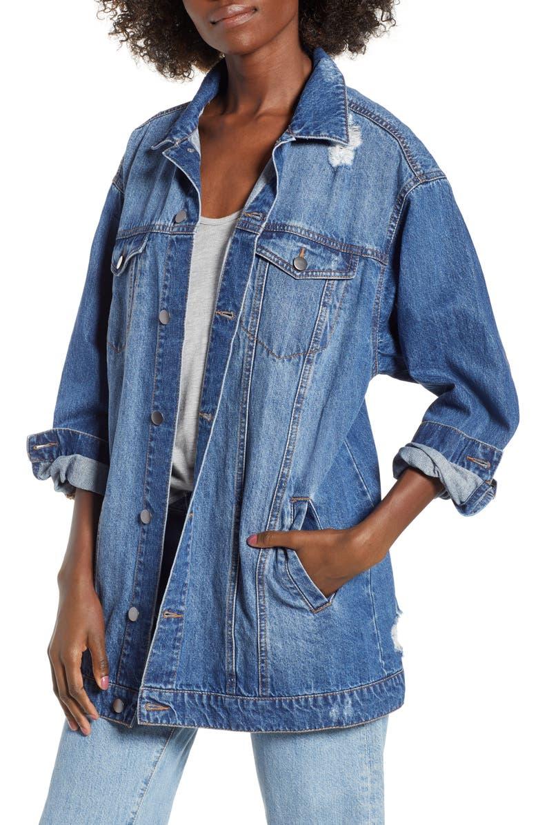 BP. Distressed Longline Denim Jacket, Main, color, 420
