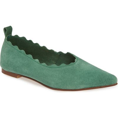 Klub Nico Naomi Scallop Pointy Toe Flat, Green