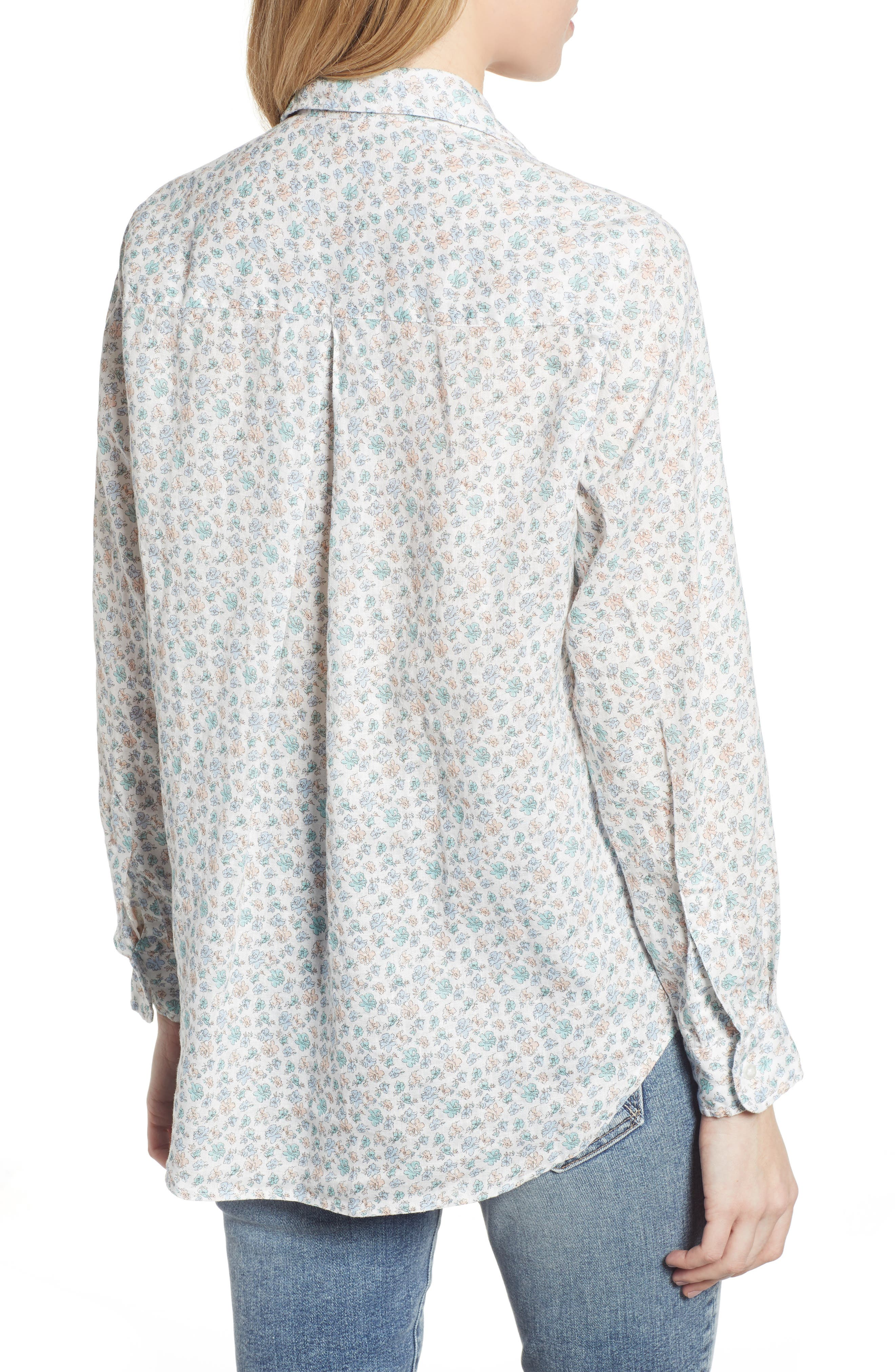 ,                             The Hero Print Tumbled Linen Shirt,                             Alternate thumbnail 2, color,                             CHARLOTTE BLUE MULTI FLOWER