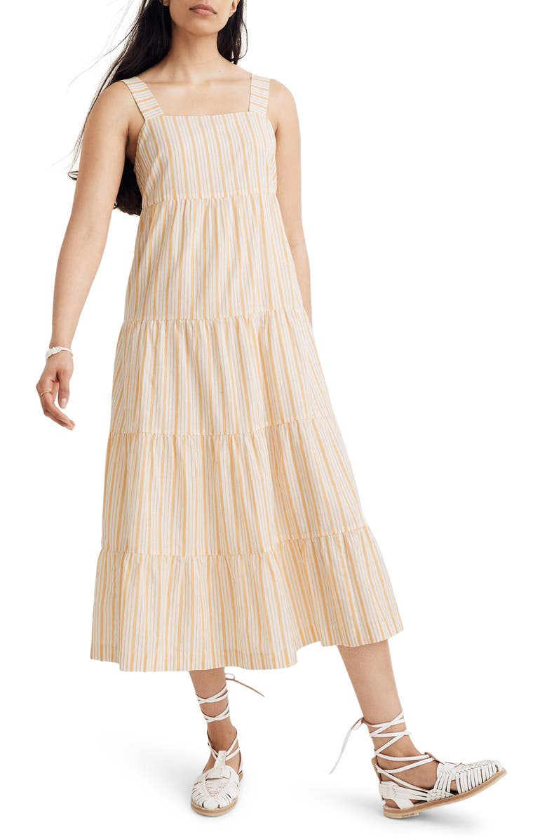 MADEWELL Stripe Button Back Tiered Midi Dress, Main, color, APRIL STRIPE POLLEN