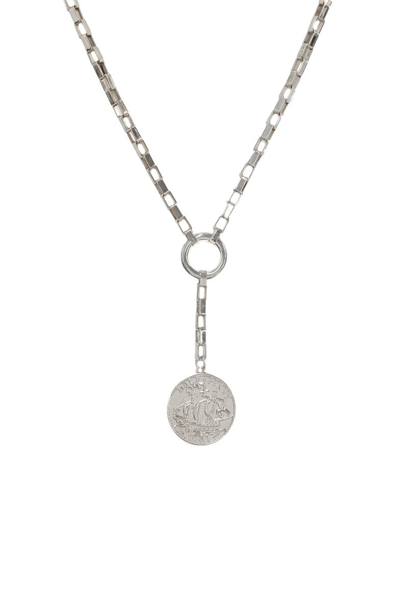 ETTIKA Large Coin Lariat Necklace, Main, color, SILVER