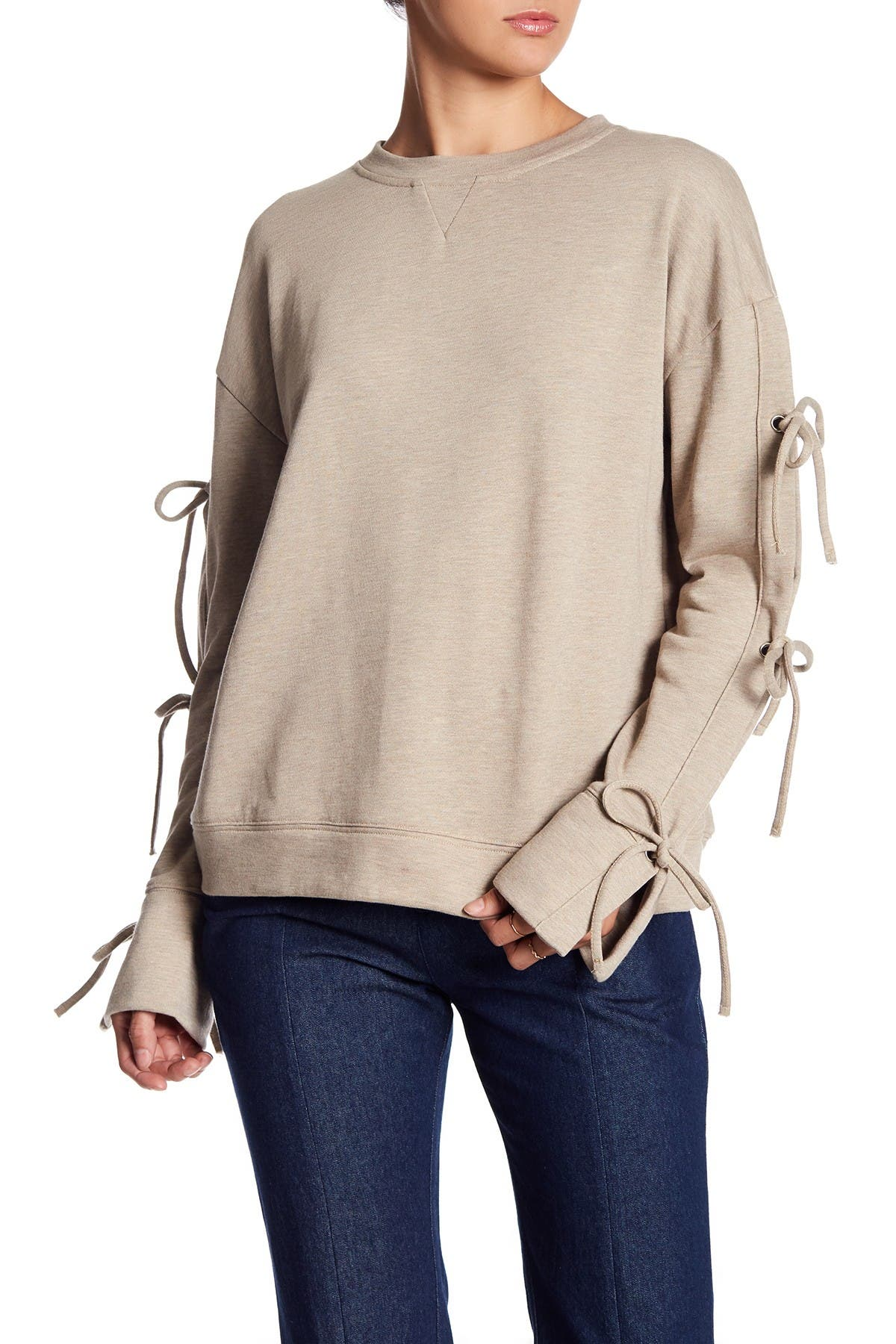 Image of TOV Tie-Sleeve Crew Neck Sweatshirt