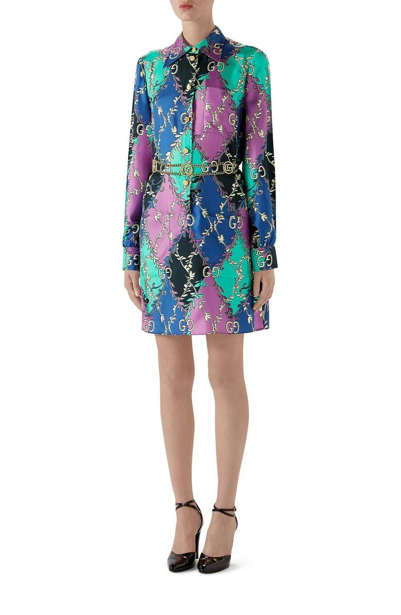 GUCCI Rhombus Print Long Sleeve Silk Shirtdress, Main, color, VIOLET/ BLACK PRINTED