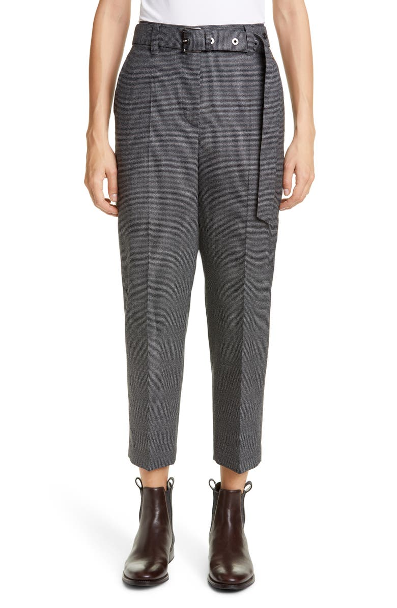 BRUNELLO CUCINELLI Belted Houndstooth Wool Ankle Pants, Main, color, GREY BLACK