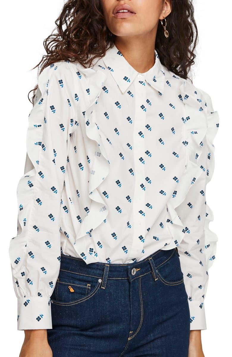 SCOTCH & SODA Clean Cotton Ruffle Shirt, Main, color, COMBO K