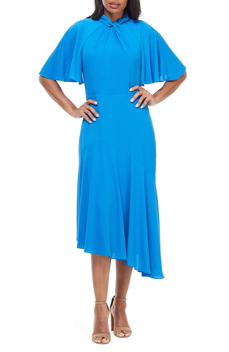 MAGGY LONDON Asymmetrical Midi Dress, Main, color, SEA BLUE