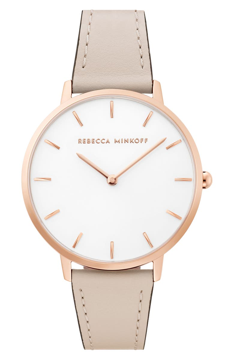 REBECCA MINKOFF Major Leather Strap Watch, 35mm, Main, color, GREY/ SILVER WHITE/ ROSE GOLD