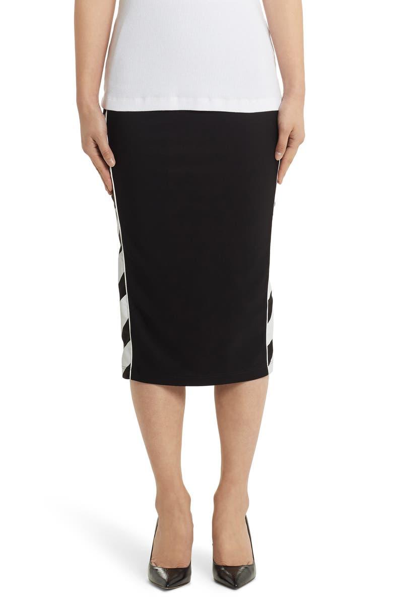 OFF-WHITE Diagonal Stripe Athletic Midi Skirt, Main, color, BLACK WHITE