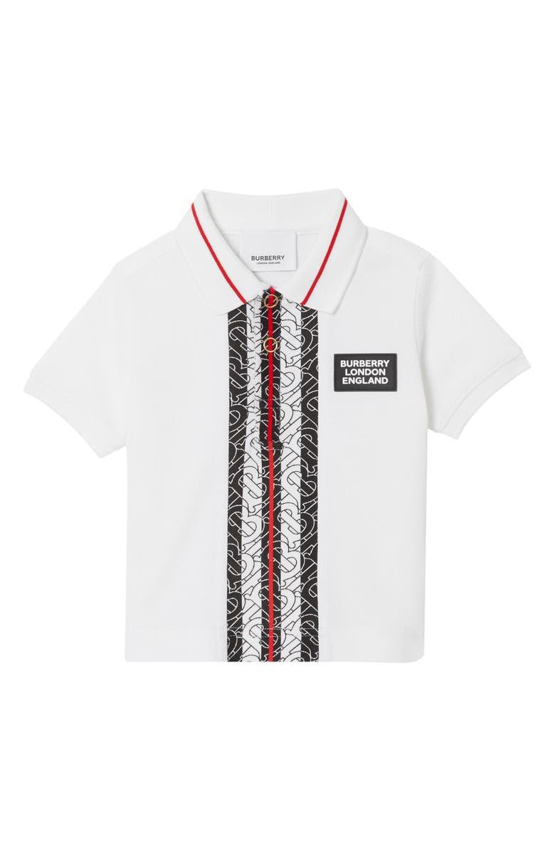 BURBERRY Joseph Monogram Stripe Piqué Polo Shirt, Main, color, WHITE