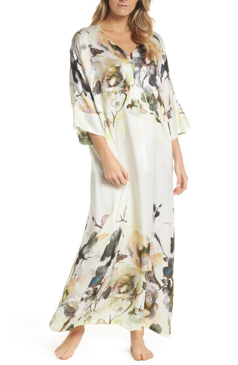 CHRISTINE LINGERIE Silk Caftan, Main, color, LIMELIGHT PRINT