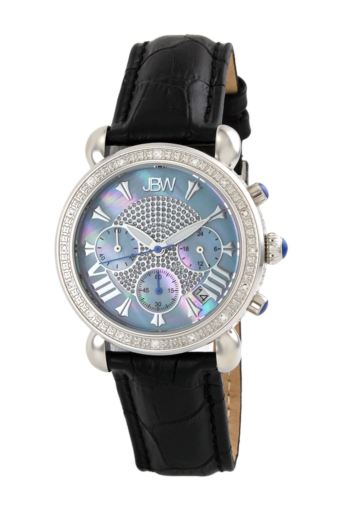 Image of JBW Women's Victory Diamond Croc Embossed Leather Strap Watch, 37mm - 0.16 ctw