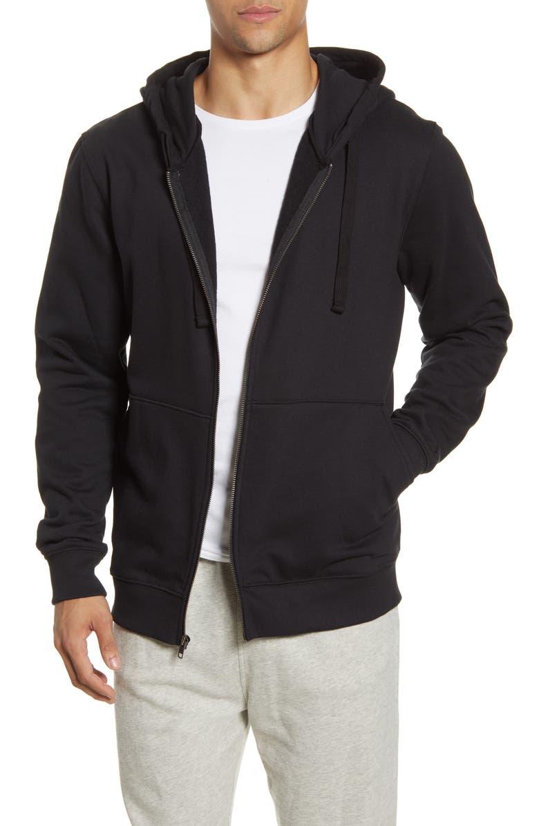 RICHER POORER Zip Front Hoodie, Main, color, BLACK