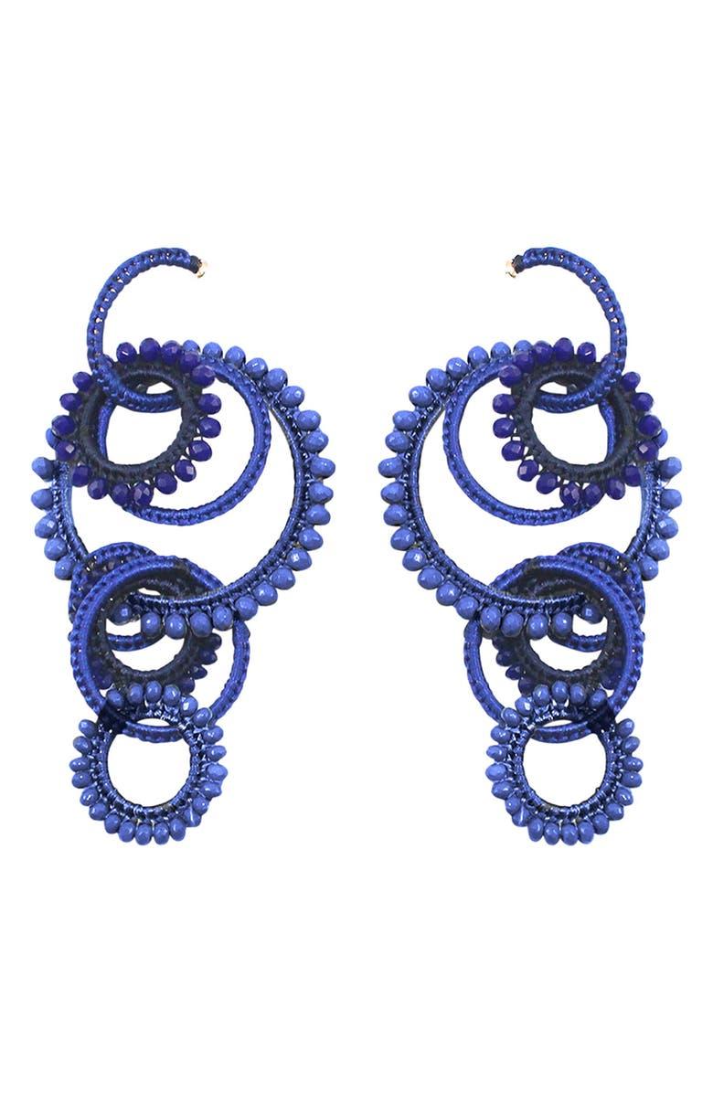MIGNONNE GAVIGAN Tallulah Beaded Drop Earrings, Main, color, COBALT