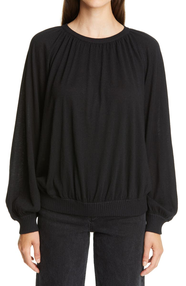 CO Balloon Sleeve Cashmere Sweater, Main, color, BLACK
