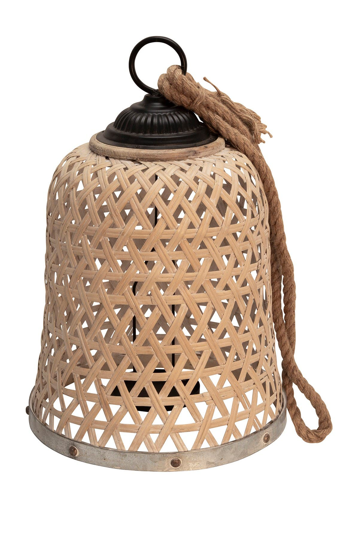 Image of SAGEBROOK HOME Woven Bamboo Lantern