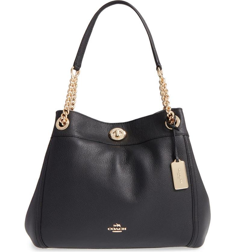 'Turnlock Edie' Pebbled Leather Shoulder Bag