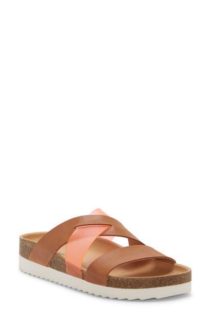 Lucky Brand Hafina Slide Sandal In Latte/ Grenadine Leather