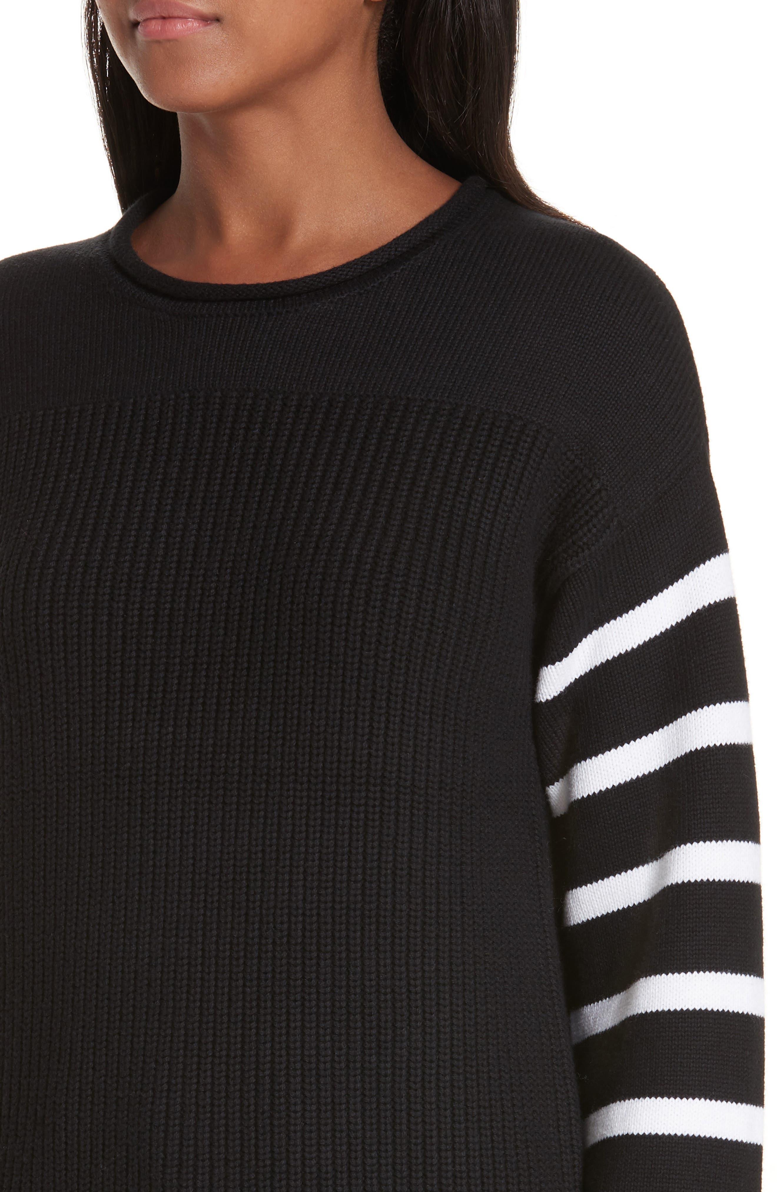 ,                             Stripe Sleeve Cotton Sweater,                             Alternate thumbnail 4, color,                             BLACK