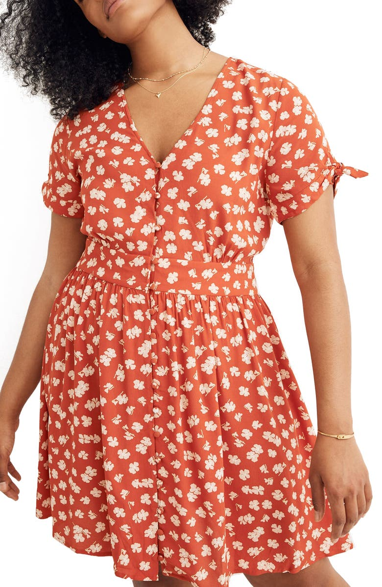MADEWELL Hibiscus Print Button Front Tie Sleeve Retro Dress, Main, color, SMALL ALOHA THAI CHILI