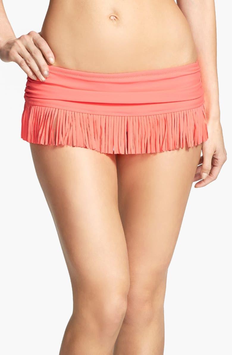 JESSICA SIMPSON 'Goa' Fringe Skirted Bikini Bottom, Main, color, 950