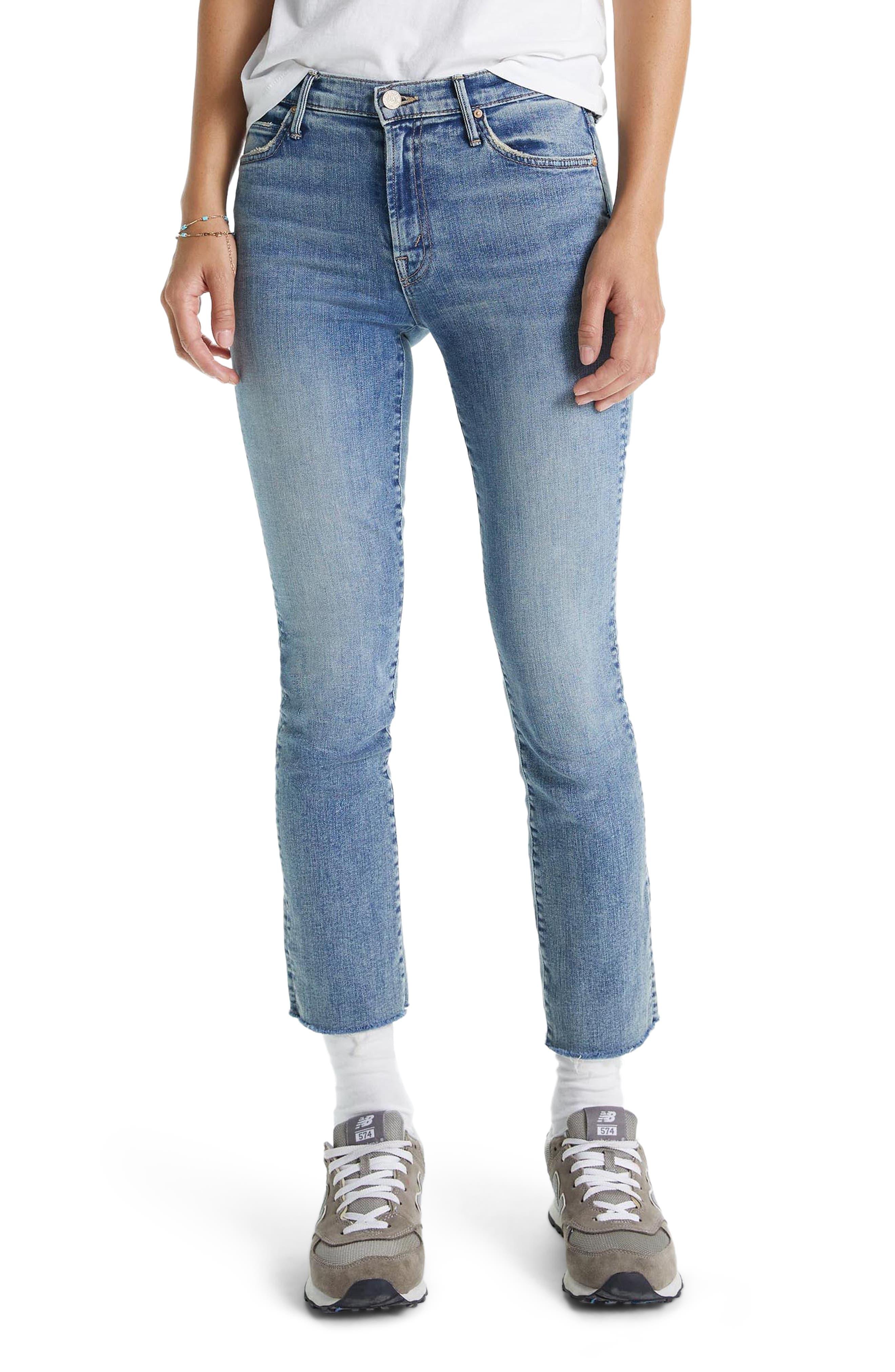 MOTHER The Rascal Fray Hem Ankle Slim Jeans (Bonfire Lighting)   Nordstrom