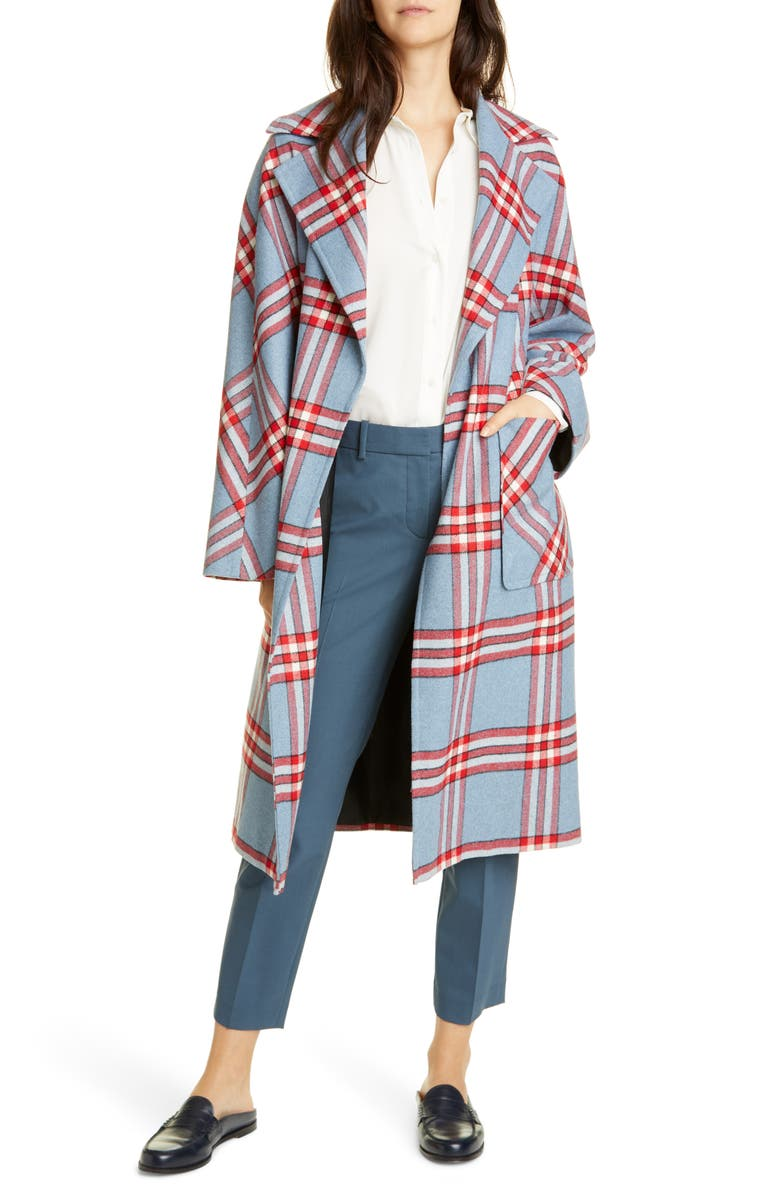 HELENE BERMAN Plaid Oversize Belted Wrap Coat, Main, color, RED/BLUE/WHITE